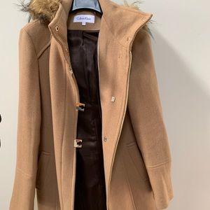 Calvin Klein Tan coat w/removable fur hood!